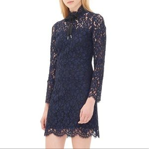 SANDRO Rina high neck dress in floral navy lace